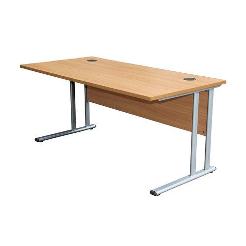BiMi Slimline 1600mm x 600mm Rectangular Straight Desk in Oak