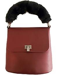 87bb9854d Blumari Bolsos de mujer de mano con pelo, color rojo, granate, cuadrado,  pequeño y sencillo. Bolso de hombro.