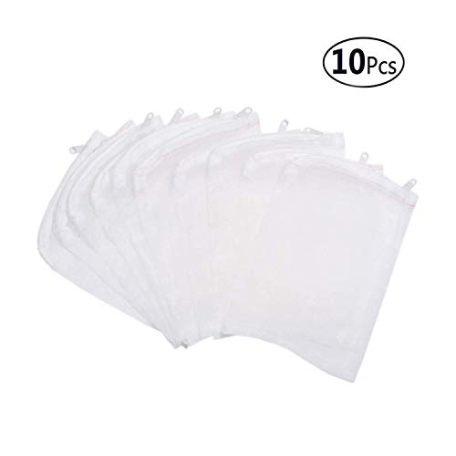 Zeagro 10 Stück Aquarium Filter Media Bag Nylon Feinmaschig Beutel Reißverschluss - 150 x 200 mm (Kohle Bag Filter)