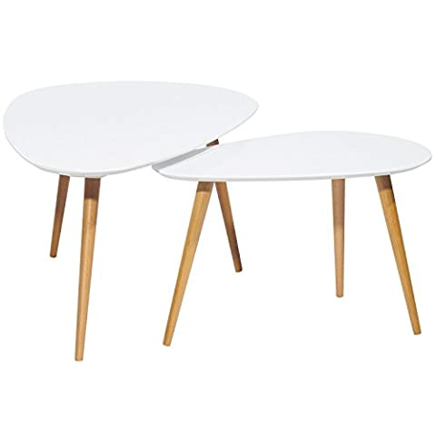 ACTUAL DIFFUSION 9360B VINTAGE Set de 2 Tables Basses à 3 Pieds Bois 66 x 116 x 45 cm