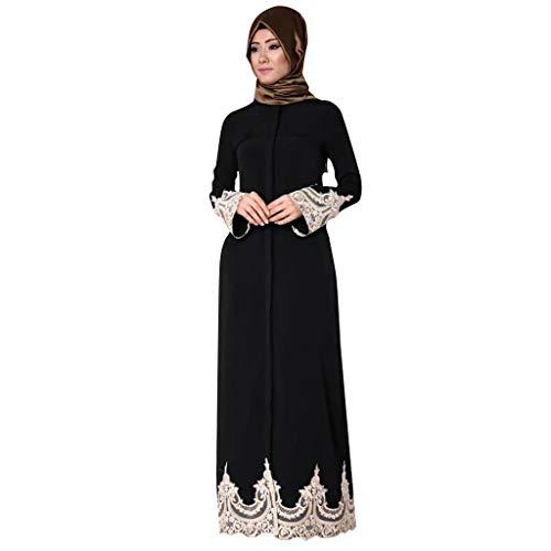 RYTEJFES -Muslimische Kleider Damen Naher Osten Türkische Mode Volle Schnalle Muslimische Spitze Roben Muslimisches Langes Kleid Spitzenmanschette spezielles Design