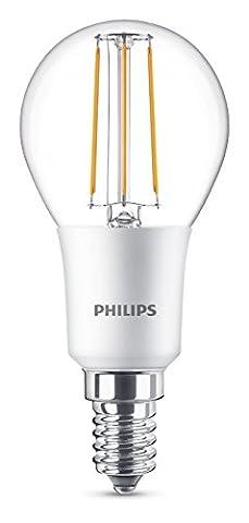 Philips LED Classic Dimmable E14 Small Edison Screw Clear Filament Mini-Globe Light Bulb, 4.5 W (40 W) - Warm White