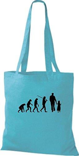 ShirtInStyle Stoffbeutel Jute Evolution Papa Mama Kind diverse Farbe sky blue