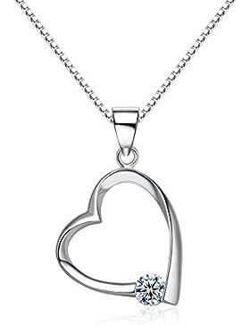Auralum Halskette Damen mit Herz-Anhänger aus 925 Sterling Silber inkl. 45cm Silberkette