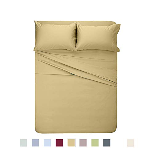 Y2L Bettlaken-Set aus Bambus, klassisches Design, 100% Viskose, luxuriös weich und bequem, Cooles Bettwäsche, Blatt in 10 Farben California King hautfarben -