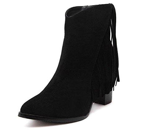 La signora della molla ha grossi stivali con tacco alto scarpe stivali Martin Black