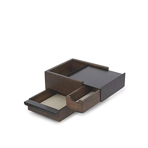 Umbra Stowit Mini Design Schmuckkasten - moderne Schmuck Box mit Geheimfächern für Ringe, Armbänder, Uhren, Halsketten, Ohrringe und Accessoires, Holz / Metall, Schwarz / Walnuβ