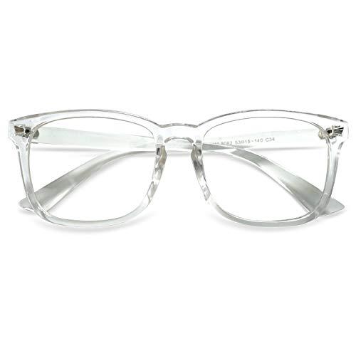 KOOSUFA Brille Ohne Sehstärke Herren Damen Federscharnier Nerdbrille Klassische Retro Brillengestelle Brillenfassung Optische Stärke Rahmen Fake Brille Mit Etui (Transparent)