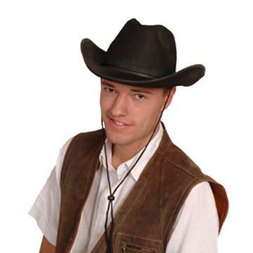 Hut Schwarzen Filz (Hut Cowboy Classic Color aus Filz schwarz PREISHIT)