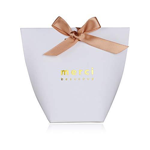 Serwoo (5.7 * 5.7 * 10 cm) 50pz scatole scatoline bomboniere portaconfetti bianco merci per regalo matrimonio compleanno battesimo festa natale laurea