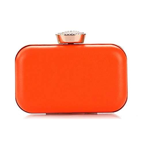 Cvthfyk Lady Bag PU weibliche Fluoreszierende Candy Farbe Hard Shell Handtasche Diamant eine Schulter (Color : Orange) (Hard Candy Orange)
