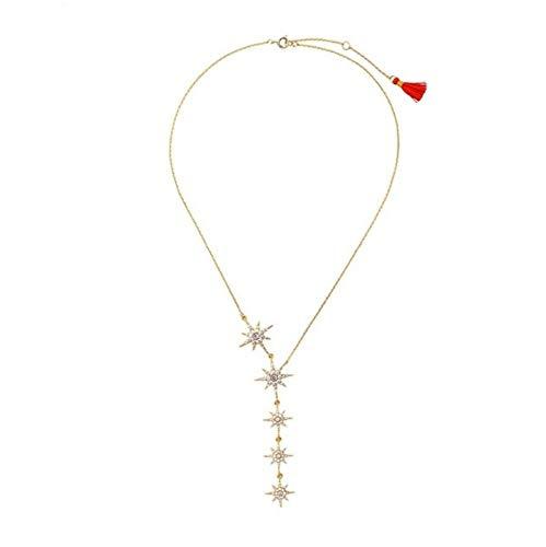 MXWY Frauen Legierung Anhänger Messing Stern Schlüsselbein Kette Schmuck Kind Geschenk Persönlichkeit Kragen Halskette Zu Senden Freundin Geschenk Zubehör -