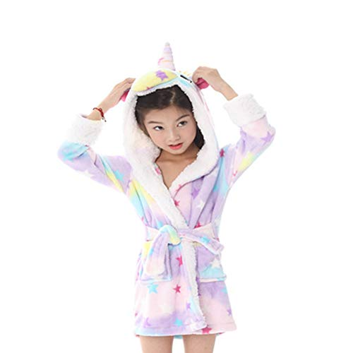 Daliuing 1pcs Albornoces para niños albornoz suave Comfy Flannel Albornoz grueso estrellas Tianma Arcobaleno...