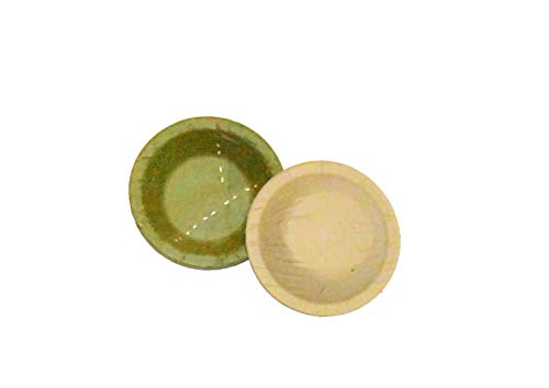 Nature's Solutions Exotic Siali Leaf Disposable Party Bowls (4.25 Inch, Pack of 50)- Eco-Friendly Organic, Vegan, Biodegradable Food-Grade Certified Oven-Safe Hand-Stitched