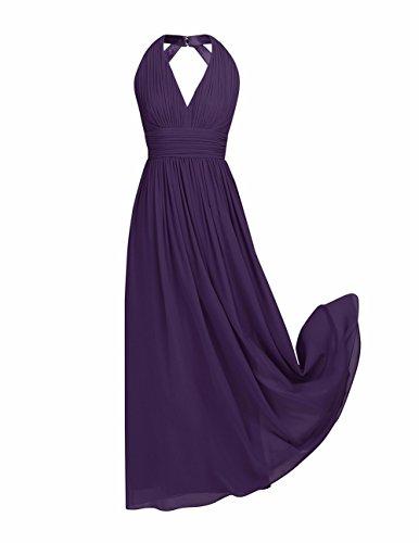 YiZYiF Damen Kleid Elegant Sommerkleid Rückenfrei Abendkleid V-Ausschnitt  Brautjungfer Abschluss Cocktailkleid Chiffon Faltenrock Langes