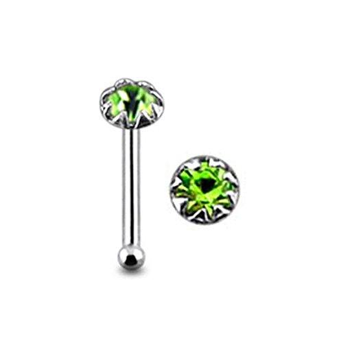 Flower Set Runde hellem Grün Crystal Stein Top 22 Gauge 925 Sterling Silber Nase Knochen Stud Piercing