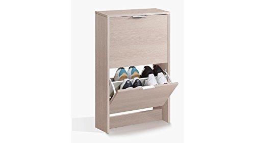 Scarpiera colore Rovere con 2 ribalte a doppia profondità - contiene fino a 12 paia di scarpe