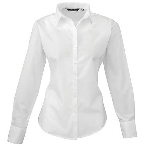 Premier Womens/Ladies Poplin Long Sleeve Blouse / Plain Work Shirt (16) (White)