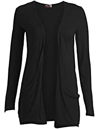 a6ccac5f442 Crazy Girls Ladies Long Sleeve Plain Printed Pocket Boyfriend Cardigan  Womens Top Sizes 8-26