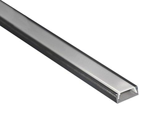 Profilo LED ultra piatto in alluminio anodizzato L. 2 metri - 15,2 x 6,5 mm Barra per Strisce LED con schermo in policarbonato satinato