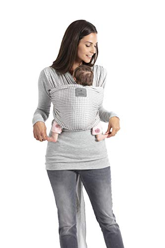 bellybutton by manduca Sling > SoftCheck grey < Kollektion 2019, Elastisches Babytragetuch in Öko-Qualität, 100% Bio-Baumwolle, für Neugeborene & Kleinkinder bis 15kg (grau mit Karomuster) -