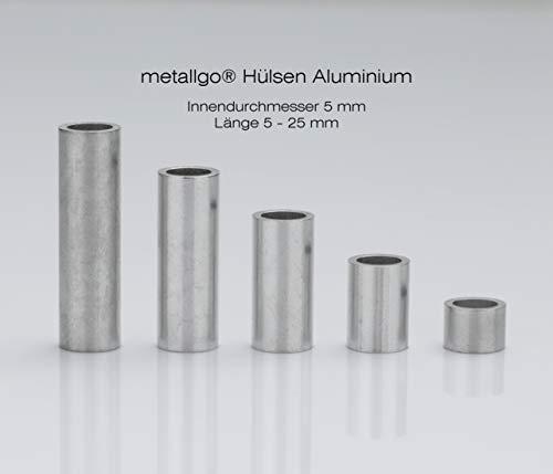 metallgo | M5 Aluminium Hülsen, Abstandshülsen, Distanzhülsen, Abstandsbuchsen, Distanzbuchsen, Abstandshalter, Distanzhalter - 10 Stück Länge 15 mm