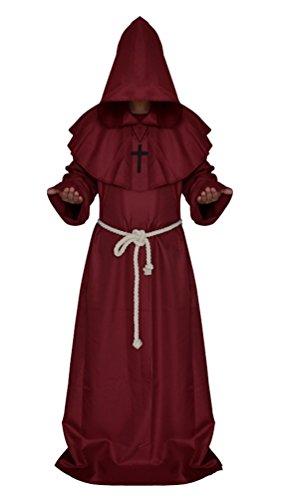 Tiny Time Friar Mittelalterlich Kapuzenmönch Renaissance Priester Robe Kostüm Cosplay (XL, Rot)