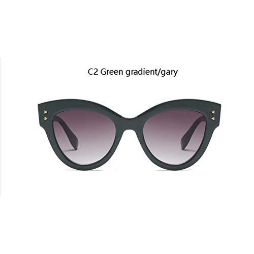 HYUHYU Übergroße Coole Rote Cat Eye Sonnenbrille Niet Platz Leopard Gläser Trendy Designer Retro Sonnenbrille Weibliche Sonnenbrille Für Frauen
