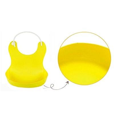 TPE Weich Säuglingsernährung Bib Fest Wasserdicht Einstellbar Flüssigkeitsdicht Ernährung Tasche Gelb
