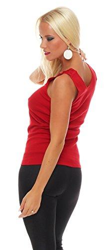 Hochwertiges Damen Träger-Top mit großer Spitze Nr. 416 (Oberteil / Unterhemd / Träger-Shirt) 100% Baumwolle ( Rot / 56/58 ) - 3
