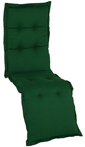 Gartenstuhl-Kissen Saumauflage Nizza von beo, für Relaxliegen, 174x52x8cm, AU32 - dunkelgrün