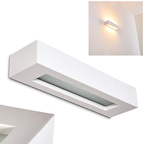 Wandlampe Paglia aus Keramik/Glas in Weiß, Wandleuchte mit Up & Down-Effekt, 2 x E14 - Fassung, max. 40 Watt, Innenwandleuchte mit handelsüblichen Farben bemalbar, geeignet für LED Leuchtmittel