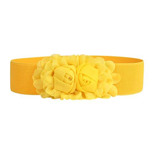 Cinturón ancho amarillo con hebilla de flores