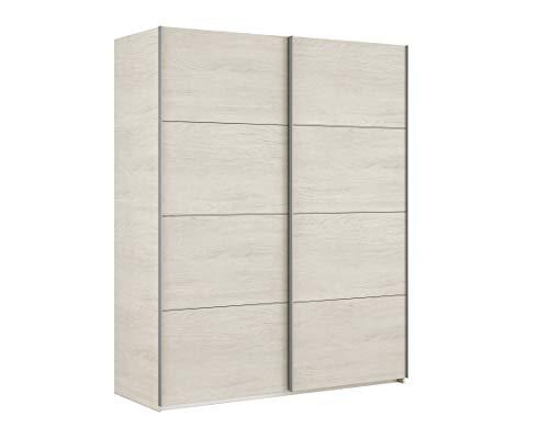 Esidra armadio guardaroba moderno, 2 ante scorrevoli, legno bianco, 200 x 150 x 63 cm