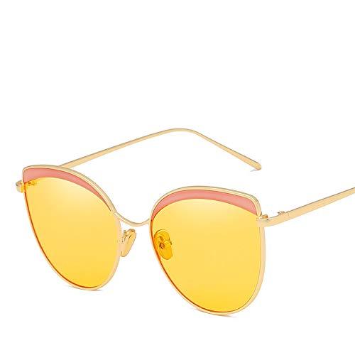 kamier Augenbrauenozeanstückmetallsonnenbrille-Modesonnenbrille-Gelbzahl
