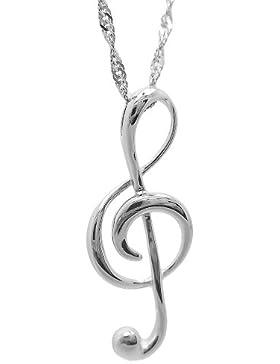 Rhodiniert 925 Sterling Silber Musik Hinweis Anhänger Halsketten Damen Kette Länge 18
