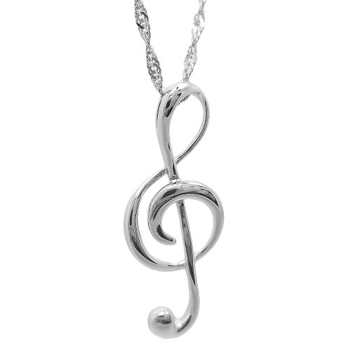 Chaomingzhen 925 Sterling Silver Rhodium Plated Music Note Pendants Necklaces Women Chain