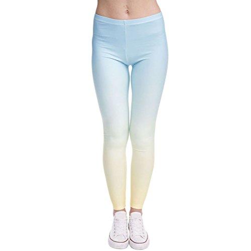 Blau bis Gelb Ombre Dünn Slim Leggins Strumpfhose Hose Für Frauen