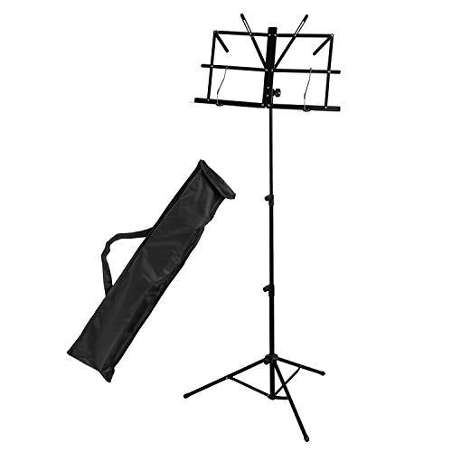 CASCHA Notenständer aus Metall mit Tragetasche, Notenhalter, Foldable Music Stand, zusammenklappbar, höhenverstellbar, schwarz