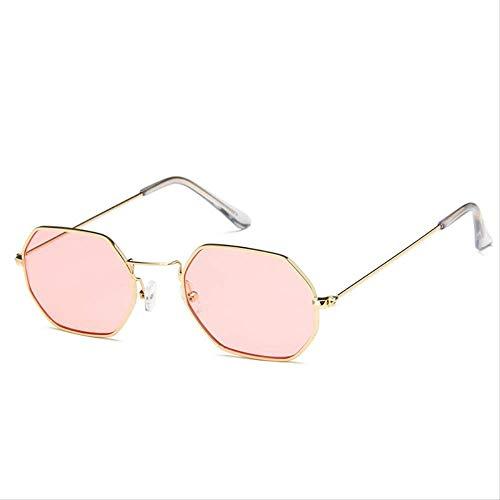 GUOTAIYH Mode Sonnenbrillen Mode Farbe Sonnenbrille Hexagon Kleine Lady Männer Retro Metall Brillengestell Rechteckige 12 Farbe Flache BrilleC2 Rosa