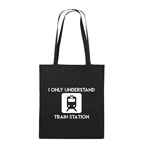 Comedy Bags - I ONLY UNDERSTAND TRAIN STATION - Jutebeutel - lange Henkel - 38x42cm - Farbe: Schwarz / Pink Schwarz / Weiss