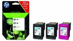 Original Tinte passend für HP DeskJet 2050 HP Nr 301 E5Y87EE - 3x Premium Drucker-Patrone - Schwarz, Cyan, Magenta, Gelb - 2 x 190 & 1 x 165 Seiten - 2 x 3 & 1 x 3 ml