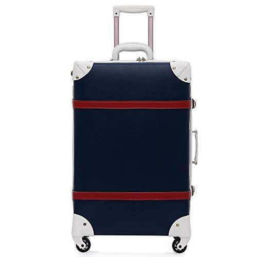 BAG 20 Zoll Spinner Räder Retro PU Leder Geprägte Koffer Frauen Stamm Vintage Gepäck Rollgepäck für Mädchen,Blue - Geprägtes Leder Stamm