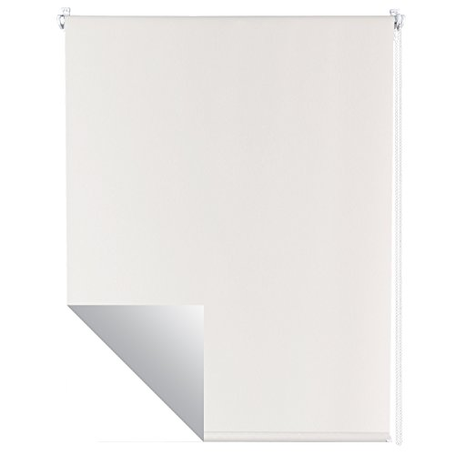 Estor-térmico en blanco - Estor opaco con fijación sin necesidad de taladrar - Cortina estor enrollable térmico para ventanas, resistente a los rayos ultravioleta, aislante y opaco, Talla:90 x 160 cm
