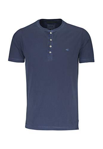 camel active Herren Basic Henley 1/2 T-Shirt, Blau (Midnight Blue Core 15), Large - Midnight Blue Shirt