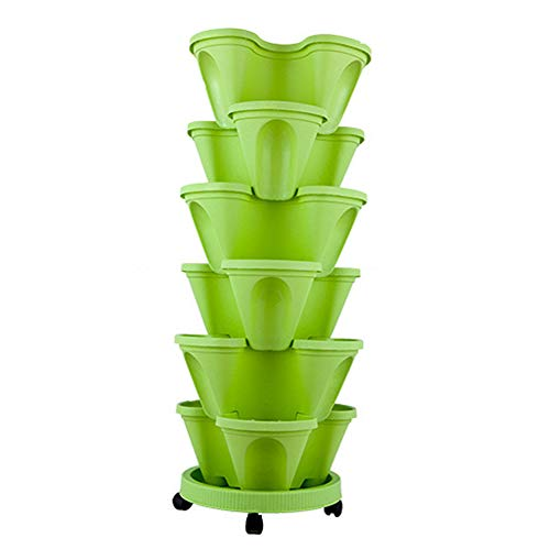 vaso per fiori impilabile a 6 ripiani, impilabile, verticale, in plastica, per piante e fragole, per coltivare erbe fresche, interni ed esterni, lyndee