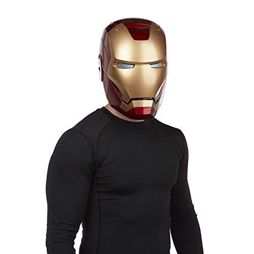 Mann 3 Kostüm Iron Helm - QWEASZER COS Halloween Helm Requisiten 1: 1 Rüstung tragbarer Helm Marvel Iron Man Elektronischer Helm Avengers: Endgame Iron Man Maske,Iron Man MK46-0~62cm