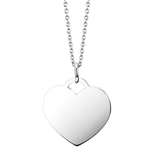 URBANHELDEN - Amulett- Damen Kette mit Herz-Anhänger - Halskette Edelstahlkette - Edelstahl Schmuck - Basic Herz Silber