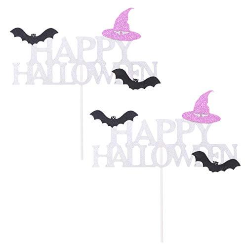 Amosfun Halloween Cake Topper Picks DIY Glitter Hexenhut Fledermaus Cupcake Picks Geburtstag Halloween Party Kuchen Dekorationen Halloween Party Favors 4PCS