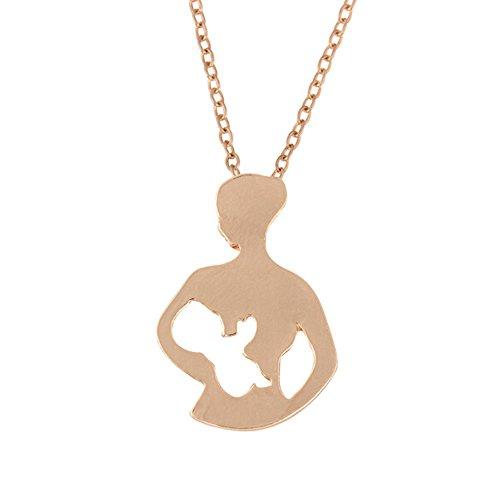 OVERMAL Mutter Baby Anhänger Schlüsselbein Kette Sommer Legierung ausgehöhlten Figur Halskette